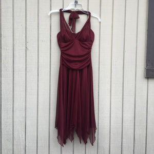 Red Halter Dress with Handkerchief Style Skirt